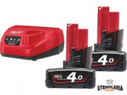 ENERGY KIT MILWAUKEE M12 NRG-402 COMPOSTO DA: 2 BATT M12 DA 4 AH + CARICABBAT.