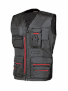 GILET CON TASCHE MULTIFUNZ. COTONE + POLIEST.  U.POWER MOD. FUN  BLACK CARBON.